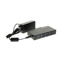 USB 3.0 4 Port Industrial Din Rail Mount Hub w/Power Adapter